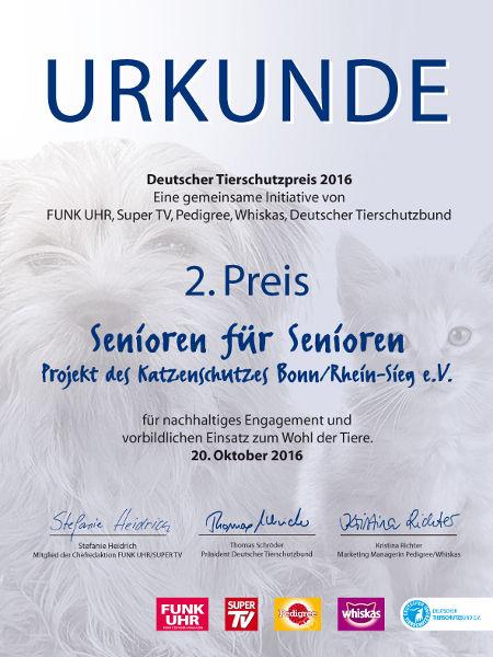 Urkunde für den 2. Platz des Deutschen Tierschutzpreises